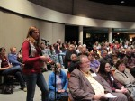 An audience member asks Jeannette Walls a question at Lenoir Rhyne University